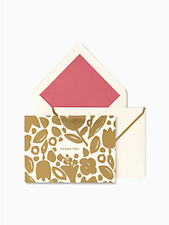 golden floral thank you cards by kate spade new york