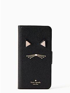 cat applique iPhone 7 & 8 plus folio case by kate spade new york