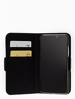 cat applique iPhone X folio case by kate spade new york