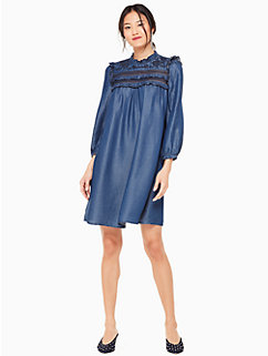 embroidered indigo dress by kate spade new york