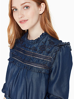 embroidered indigo top by kate spade new york